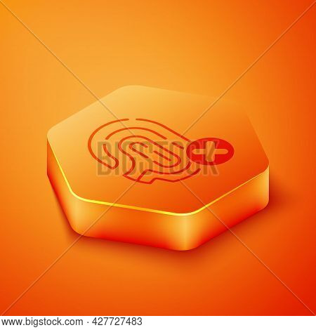Isometric Rejection Fingerprint Icon Isolated On Orange Background. Access Denied For User Concept.