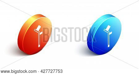 Isometric Crutch Or Crutches Icon Isolated On White Background. Equipment For Rehabilitation Of Peop