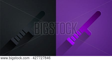Paper Cut Police Rubber Baton Icon Isolated On Black On Purple Background. Rubber Truncheon. Police
