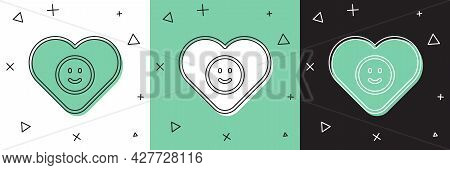 Set Good Relationship Icon Isolated On White And Green, Black Background. Romantic Relationship Or P