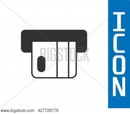 Grey Credit Card Inserted In Card Reader Icon Isolated On White Background. Atm Cash Machine. Vector