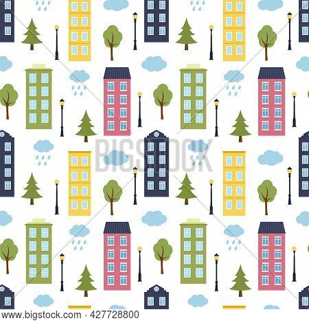Seamless Pattern With Houses, Trees, Lanterns And Clouds, Vector Illustration