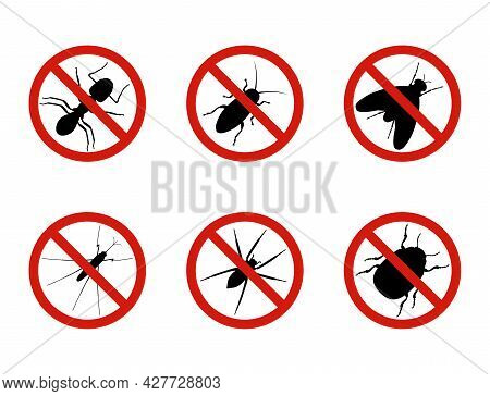 Set Of Stop Insects Signs, Vector Illustration
