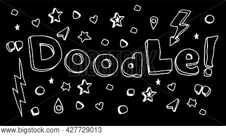 Vector Set Of Word Doodle And Simple Elements Asterisks, Circles, Squares, Zippers, Quotes, Exclamat