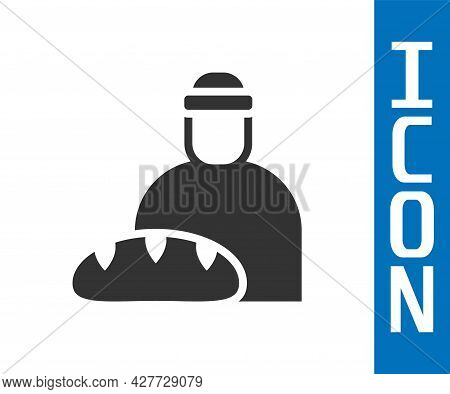 Grey Feeding The Homeless Icon Isolated On White Background. Help And Support. Giving Food To The Hu