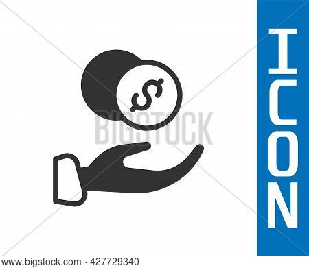 Grey Donation Hand With Money Icon Isolated On White Background. Hand Give Money As Donation Symbol.