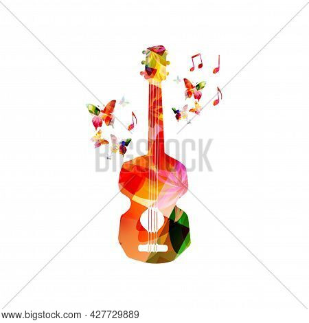Acoustic Guitar With Musical Notes Isolated For Live Concert Events, Jazz Music Festivals And Shows,
