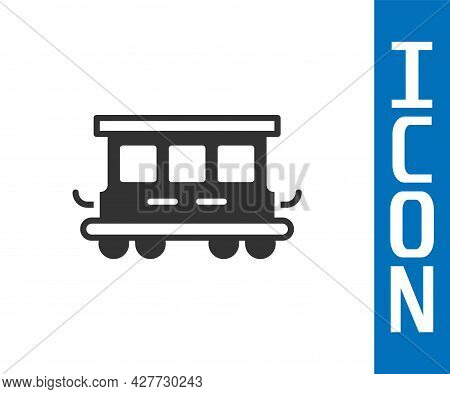 Grey Passenger Train Cars Toy Icon Isolated On White Background. Railway Carriage. Vector