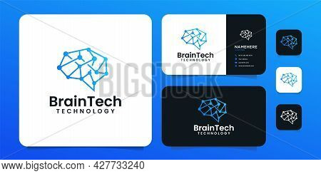 Creative Smart Clever Brain Technology Logo Design For Business Company. Logo Can Be Used For Icon,