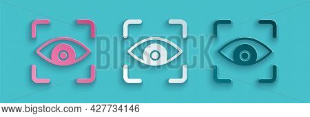 Paper Cut Eye Scan Icon Isolated On Blue Background. Scanning Eye. Security Check Symbol. Cyber Eye