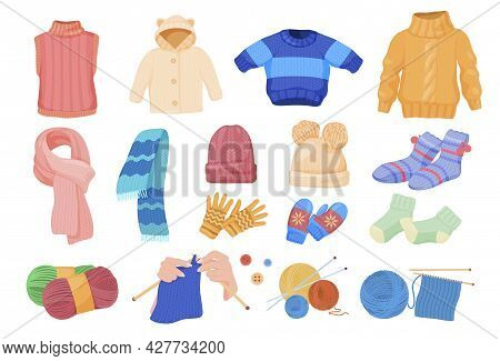 Collection Of Comfortable Knitted Things Vector Flat Illustration Warm Comfy Accessories And Garment