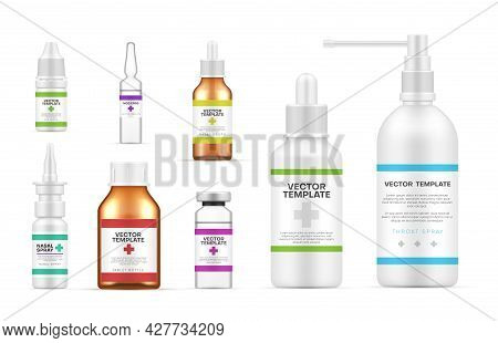 Collection Realistic Medical Bottles Template Vector Illustration. Cure Treatment Blank Packaging