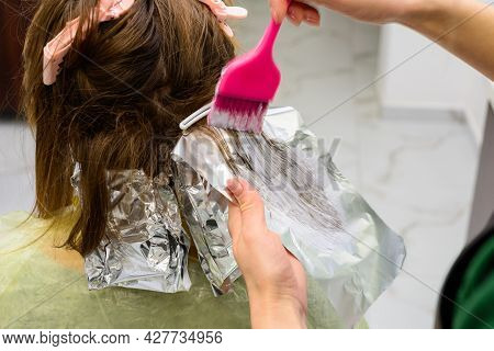 Beginning Of Hair Coloring, Coloring Technique Balayag, Hair Bleaching For Applying Paint.