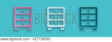 Paper Cut Archive Papers Drawer Icon Isolated On Blue Background. Drawer With Documents. File Cabine