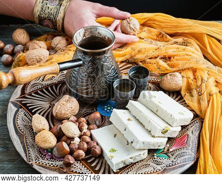 Greek Halva, Nuts And Greek Coffee On A Colorful Tray.