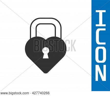 Grey Castle In The Shape Of A Heart Icon Isolated On White Background. Locked Heart. Love Symbol And