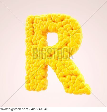Letter R Made Of Color Shapes. Luminous Yellow Balls. English Alphabet 3d Illustration. Glass Surfac