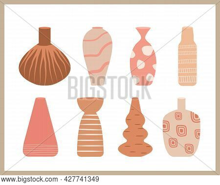 Ceramic Vase Collection. Hand Drawn Ceramic Pottery Vector Set. Different Shapes In Minimalist Style