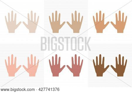 Hands Colors Of Skin And Race Set. People Of Different Nationalities. Creative Social, National, Rac