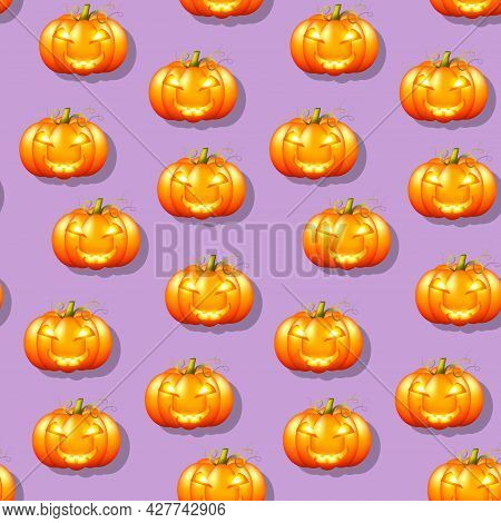 Orange Pumpkin Lantern With Carved Smiling Face For Halloween On Purple Background Seamless Pattern.