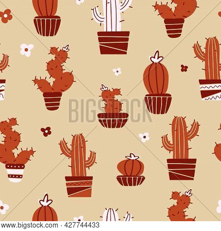 Bright Summer Seamless Pattern Domestic Plants In Trendy Earthy Colors. Mexican Cacti In Pots, Flowe