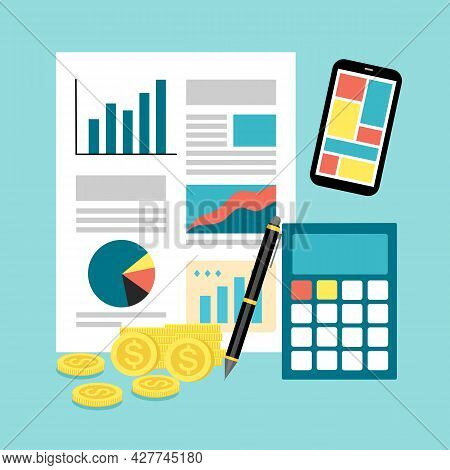 Business Report, Calculator, Money And Smartphone In Flat Design. Finance And Accounting Concept.