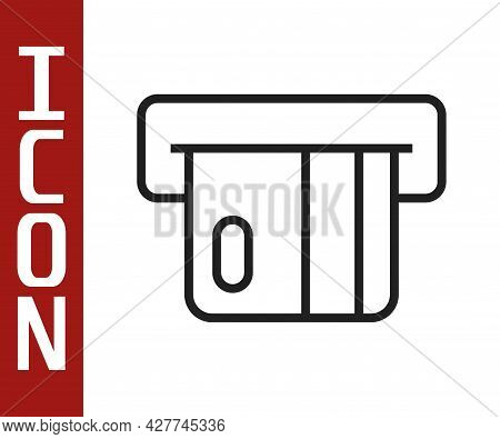 Black Line Credit Card Inserted In Card Reader Icon Isolated On White Background. Atm Cash Machine.