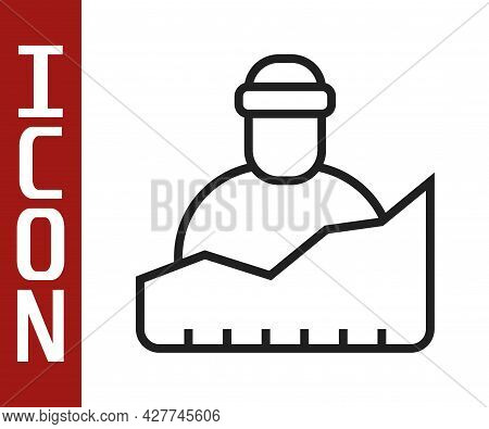 Black Line Growth Of Homeless Icon Isolated On White Background. Homelessness Problem. Vector