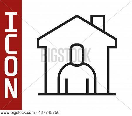 Black Line Shelter For Homeless Icon Isolated On White Background. Emergency Housing, Temporary Resi