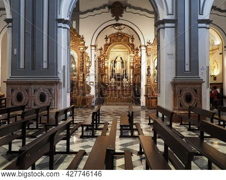 Malaga, Spain On April 2019: Inside Of San Juan Bautista Church From The 15th Century At European Ci