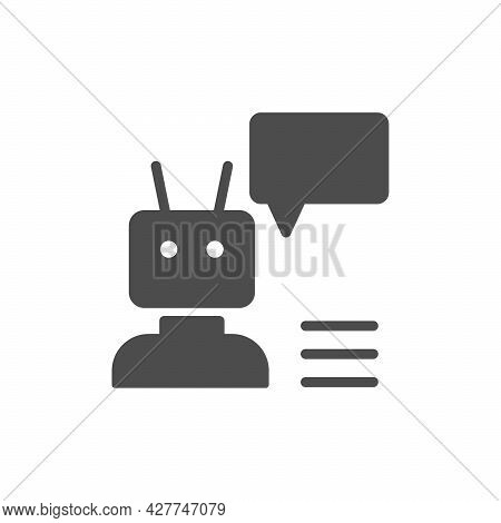 Chat Bot Or Robot Glyph Icon Isolated On White
