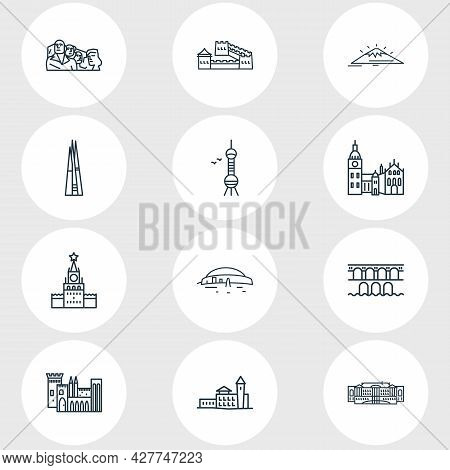 Vector Illustration Of 12 History Icons Line Style. Editable Set Of Mount Fuji, The Shard, Castle An