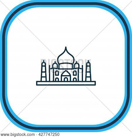 Vector Illustration Of Taj Mahal Icon Line. Beautiful Tourism Element Also Can Be Used As India Mosq