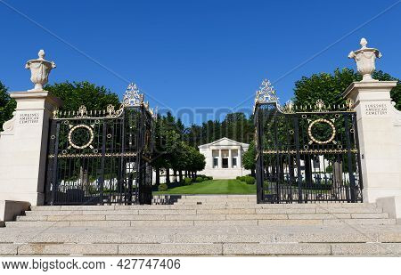 Suresnes, France-july 18 , 2021 : The Entry Into Suresnes American Cemetery . It Located Just Outsid