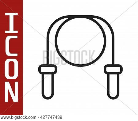 Black Line Jump Rope Icon Isolated On White Background. Skipping Rope. Sport Equipment. Vector