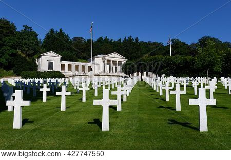 Suresnes, France-july 18 , 2021 : Suresnes American Cemetery Located Just Outside Paris, Commemorate