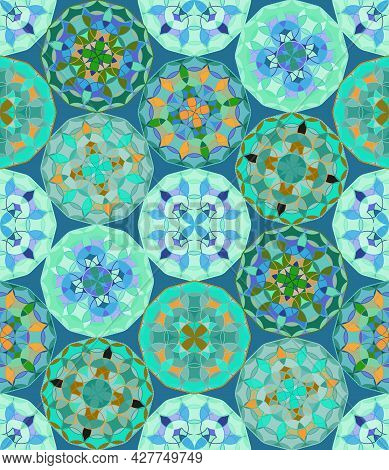 Abstract, Vector, Seamless Image Composed Of Miniature Mandalas In Muted Green And Blue Colors. Can