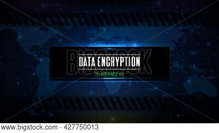 Abstract Futuristic Background Of Blue Technology Sci Fi Hack Data Encryption Button Ui Screen
