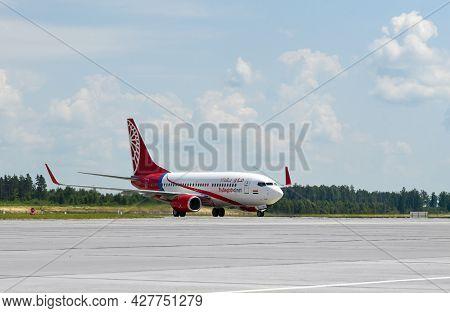 Minsk, Belarus, 07-01-2021: Iraqi Airlines Plane Lands At The Minsk National Airport In Belarus