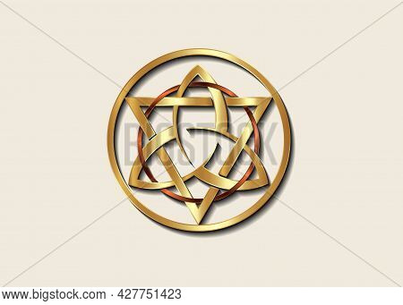 The Grand Seal Of Gold Triquetra With Triangle And Bronze Circle Logo, Luxury Metallic Round Trinity
