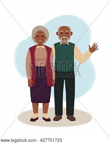 Black Grandparents Standing Together. Vector Illustration Of Happy Grandmother And Grandfather. Elde