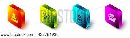 Set Isometric Speaker, Censored Stamp, Coins On Hand - Minimal Wage And Icon. Vector
