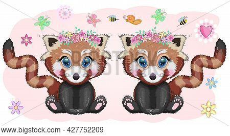 Red Panda, Cute Character With Beautiful Eyes, Bright Childish Style. Rare Animals, Red Book, Cat, B