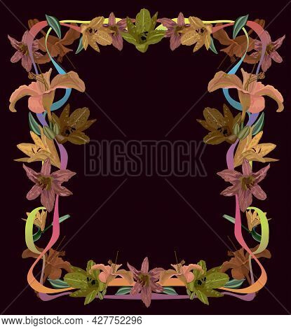 Frame For Text Made Of Flowers Of Lilies And Curved Ribbons On A Dark Red Background