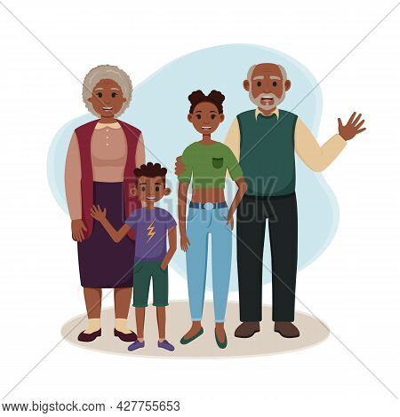 Black Grandfather And Grandmother With Grandchildren Are Standing. Happy African American Grandparen