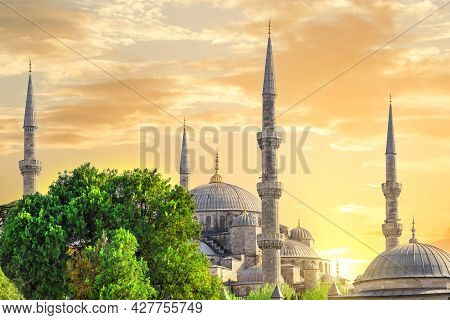 Sultanahmet Mosque Or Blue Mosque At Sunset With Yellow Sky