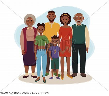 Black Family Are Standing Together. Vector Illustration Of Happy Grandparents, Parents And Children.