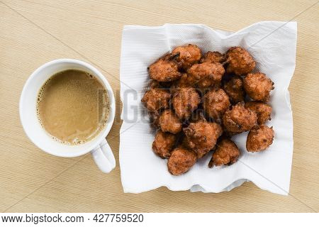 Top View Of Rice Fritters Called Chawal Ke Pakode Made From Leftover Rice, Besan And Curd. Indian Sp