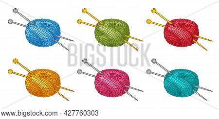 Colorful Skein Of Thread Or Yarn With Knitting Needles Icon Set. Ball Of Wool Filament For Knitted.