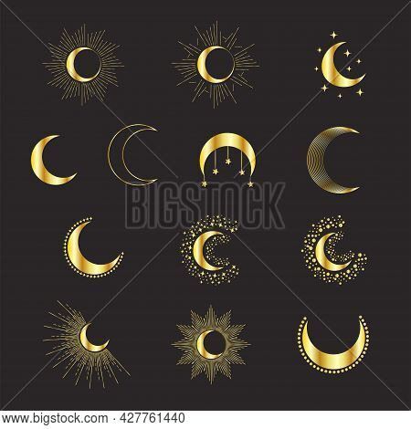 Set Of Golden Phases Of The Moon, With Rays And Stars, Magical Astrology And Boho. Magic Concept, Mi